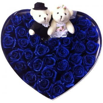 爱你的感觉-33朵蓝色妖姬玫瑰礼盒