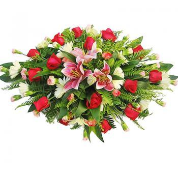商务桌花-粉百合红玫瑰