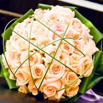 新娘手捧花-33朵香槟玫瑰