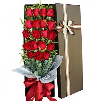 一抹朱砂-19朵红玫瑰礼盒