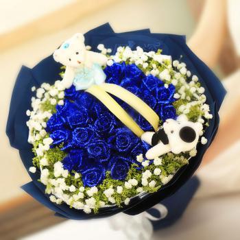 海蓝之心-33朵蓝玫瑰