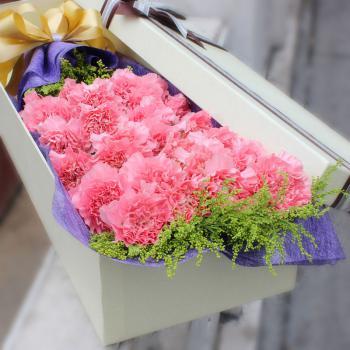 守候-19枝粉色康乃馨礼盒