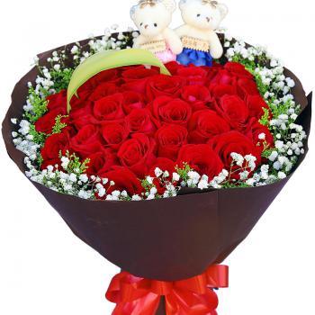 甜蜜情缘-33朵红玫瑰花束