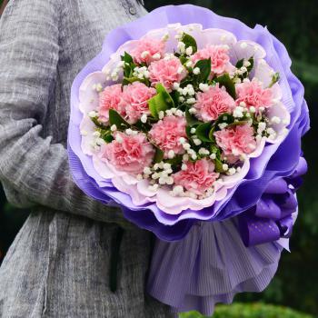 无微不至-11枝粉色康乃馨花束