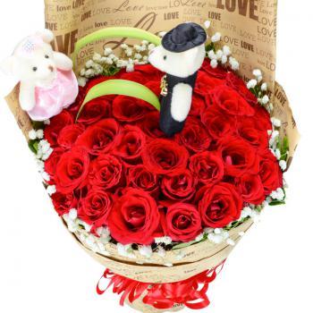 幸福恋人-33朵红玫瑰花束