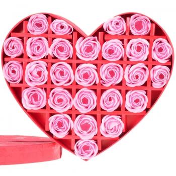 香皂花:27朵心形礼盒