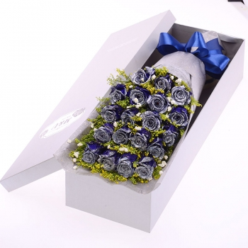 情有独钟-19朵蓝色妖姬礼盒