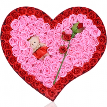 92朵香皂花+玫瑰花+小熊:向幸福出发