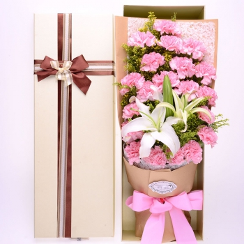 温馨祝福-19枝粉康乃馨+2枝百合礼盒