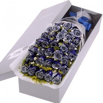 浪漫约定-33朵蓝色妖姬礼盒