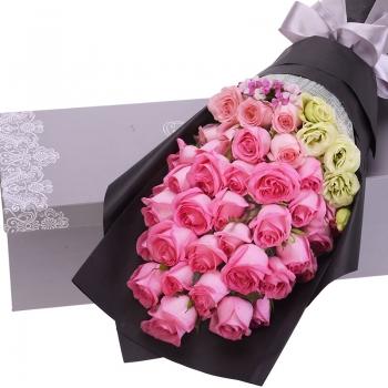 爱的天使-33朵粉色玫瑰礼盒