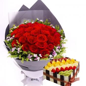 美味旅程-33枝玫瑰鲜花蛋糕组合
