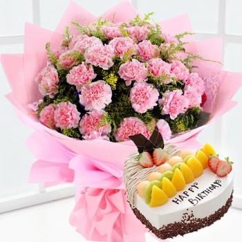19枝康乃馨鲜花蛋糕组合