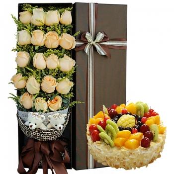 19枝香槟玫瑰鲜花蛋糕组合(蛋糕8寸)