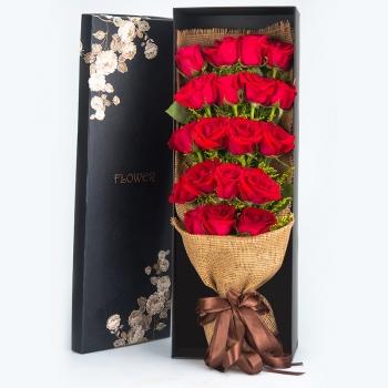 花正盛开-19朵红玫瑰礼盒