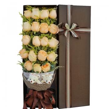 致优雅-19朵香槟玫瑰礼盒