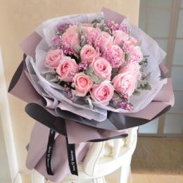 倾心佳人-19朵粉玫瑰花束