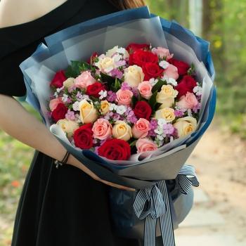 33朵混搭玫瑰花束-女神款