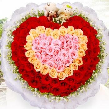 情深意长-99朵混色玫瑰