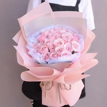 粉色佳人-33朵粉玫瑰花束