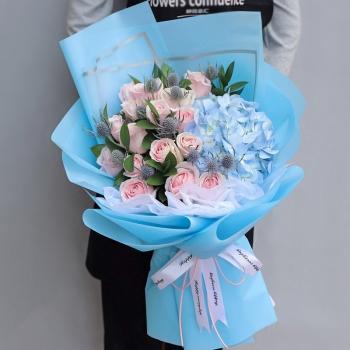 晶莹剔透-19朵粉红雪山玫瑰花束