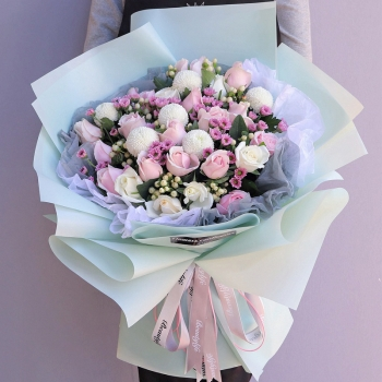 清新可人-19朵粉红雪山白玫瑰混搭