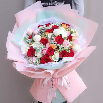 绚丽多彩-19朵混搭玫瑰