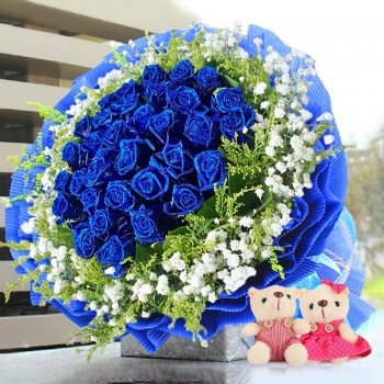梦幻星空-33朵蓝玫瑰