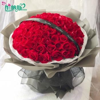 爱意如火-99朵红玫花束