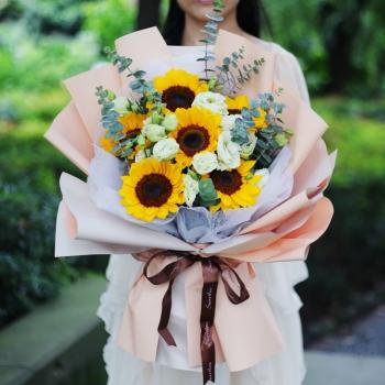 暖阳-6朵向日葵桔梗混搭花束