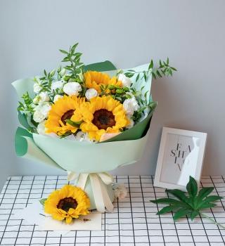 心系着你-3朵向日葵桔梗混搭花束
