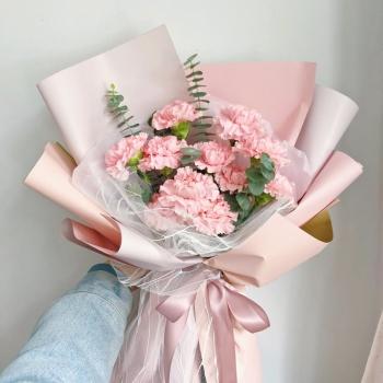 情意满满-11枝粉色康乃馨鲜花花束