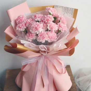 恩重如山 -19朵粉色康乃馨鲜花花束