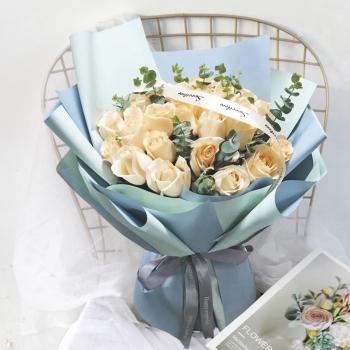 一生相携-19朵香槟玫瑰花束