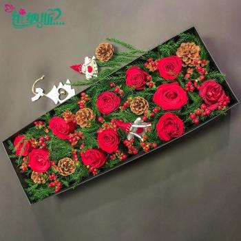 圣诞节礼物红玫瑰鲜花礼盒